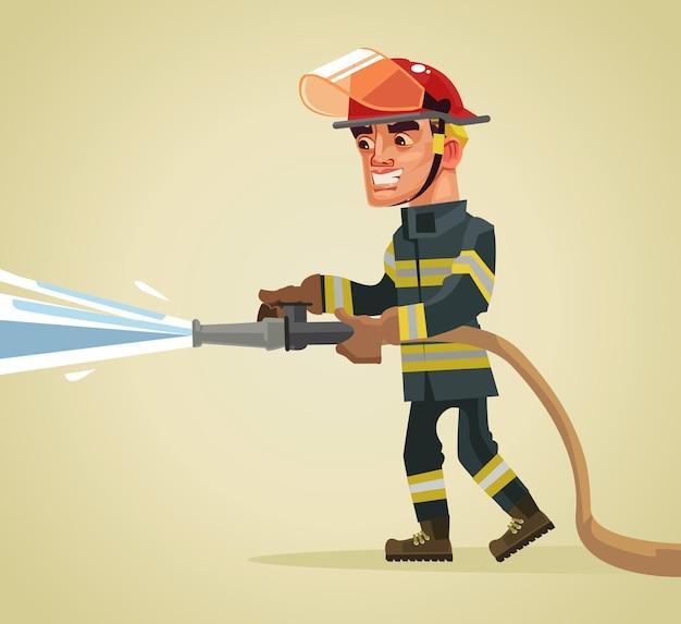 Carattere sorridente del vigile del fuoco che tiene il tubo flessibile che estingue il fuoco con acqua. illustrazione di cartone animato piatto vettoriale