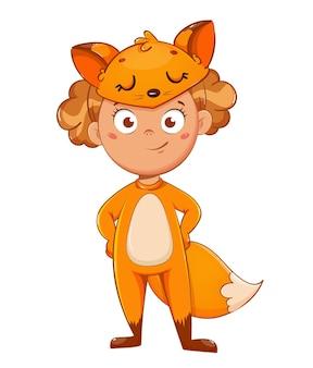 Ragazza sorridente in costume di volpe. bambino in costume di carnevale di natale, simpatico personaggio dei cartoni animati. stock illustrazione vettoriale su sfondo bianco