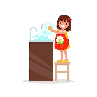 La ragazza sorridente lava l'illustrazione dei piatti Vettore Premium