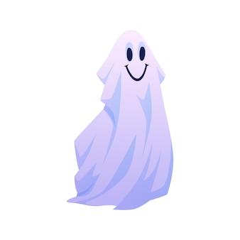 Sorridente apparizione galleggiante di un fantasma di halloween con un'espressione facciale positiva e amichevole