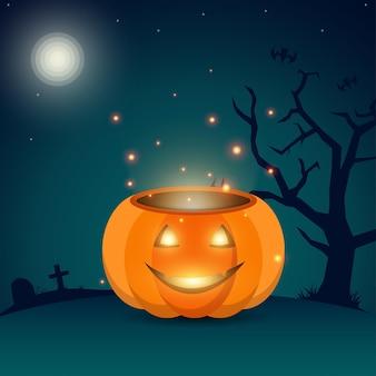 Illustrazione sorridente della priorità bassa della zucca di halloween vettore gratuito