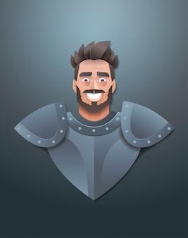 Sorridente cavaliere faccia avatar uomo che indossa armatura d'acciaio ritratto trendy carta origami arte maschio personaggio dei cartoni animati verticale piatta