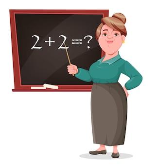 Sorridente personaggio dei cartoni animati di insegnante signora in piedi vicino alla lavagna