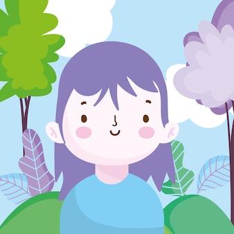Bambina sorridente nella natura del parco all'aperto