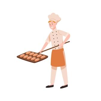 Panettiere maschio sorridente che cuoce l'illustrazione piana di vettore del pane. lavoratore di panetteria felice che mette gustose pagnotte in forno. personale del forno in uniforme che tiene i panini sul personaggio dei cartoni animati della pala.