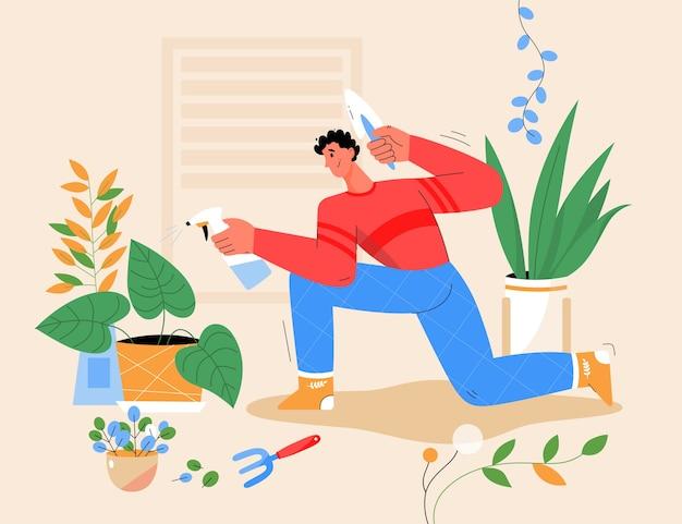 Uomo sorridente che pianta pianta d'appartamento a casa, annaffiando i fiori in vaso.