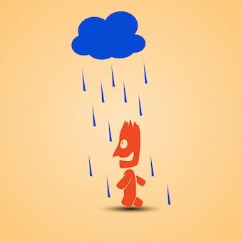 Uomo sorridente che cammina con la pioggia