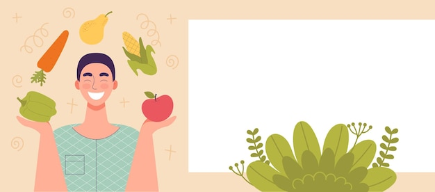 Uomo sorridente con frutta e verdura nelle sue mani. cibo sano, concetto di dieta, dieta di cibi crudi, vegetariano. banner per sito web, spazio per testo, modello. illustrazione di vettore del fumetto piatto
