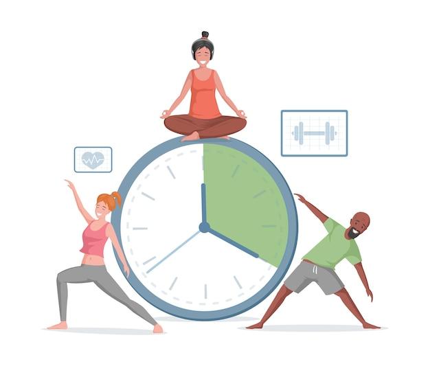 Uomo e donna sorridenti che fanno esercizi sportivi e yoga su
