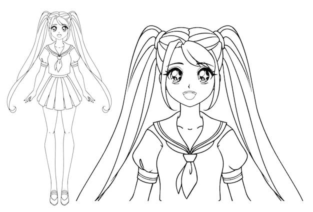 Sorridente ragazza manga con grandi occhi e due trecce che indossano uniformi scolastiche giapponesi.