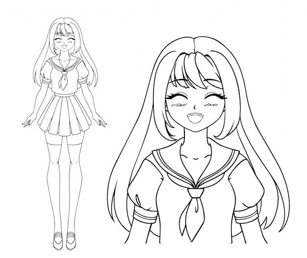 Ragazza sorridente di manga con gli occhi chiusi e due trecce che indossano l'uniforme scolastica giapponese. illustrazione vettoriale disegnato a mano isolato. Vettore Premium