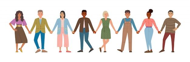 Uomini e donne sorridenti che si tengono per mano. persone felici in fila insieme. concetto di felicità e amicizia. personaggi dei cartoni animati caucasici, asiatici e africani isolati.