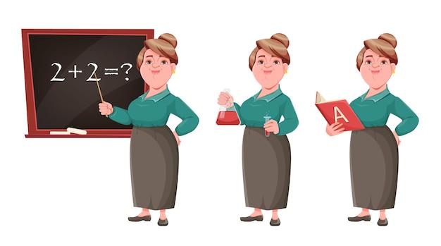Sorridente insegnante donna di mezza età, set di tre pose