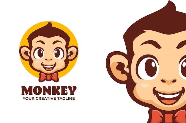 Modello di logo del personaggio mascotte scimmia sorridente