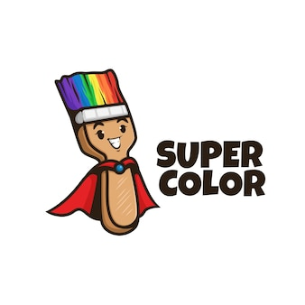 Sorridente logo personaggio pennello. vernice del logo. logo a colori. vernice arcobaleno.