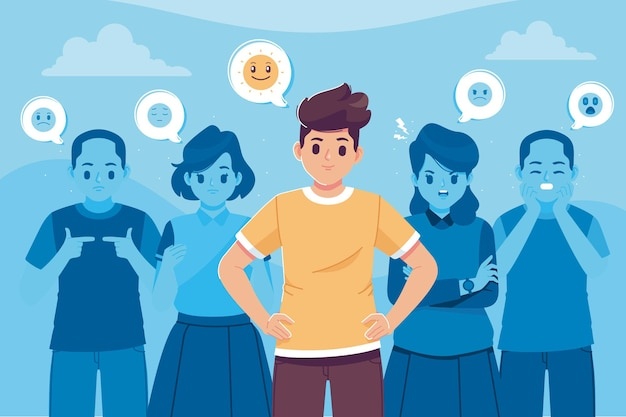 Persone sorridenti in folla illustrazione sfondo