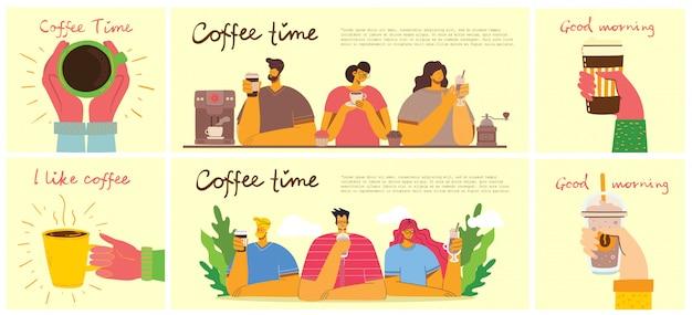 Amico sorridente della gente che beve caffè e conversazione. schede concettuali di tempo del caffè, pausa e relax. illustrazione.