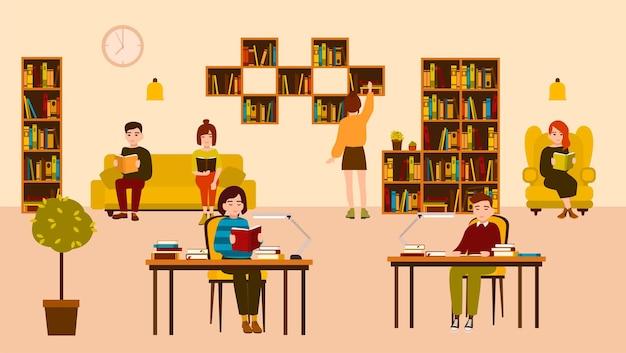 Gente sorridente che legge e studia alla biblioteca pubblica. simpatico cartone animato piatto uomini e donne seduti alla scrivania e sul divano circondati da scaffali e scaffali con libri. illustrazione vettoriale colorato moderno.