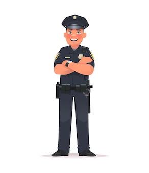 Ufficiale di polizia sorridente vestito in uniforme poliziotto su sfondo bianco