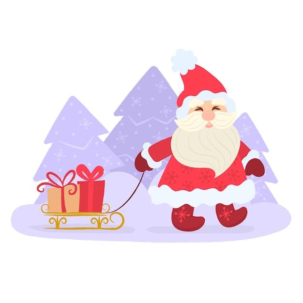 Santa sorridente che tira una slitta