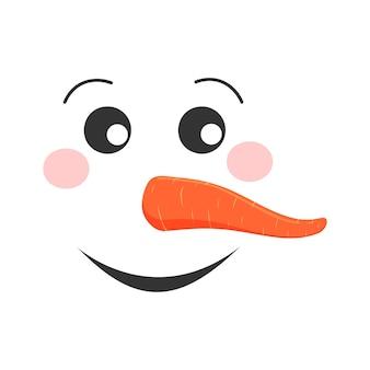 Volto di pupazzo di neve sorridente testa di pupazzo di neve divertente con guance rosee e naso di carota