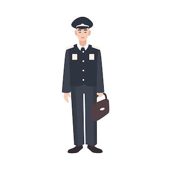 Soldato sorridente, militare o servitore delle forze armate che indossa uniforme formale, berretto e valigetta di contenimento. personaggio dei cartoni animati maschio isolato su priorità bassa bianca. illustrazione vettoriale colorato in stile piatto.