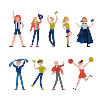 Personaggi sorridenti di tifosi e tifosi. supporto per illustrazioni di sport di squadra