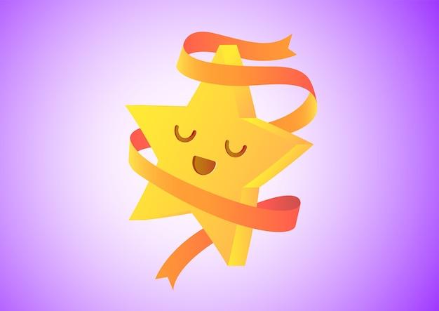 Icona di disegno di carattere stella sorridente