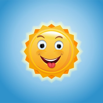 Sole sorridente contro il cielo blu. un piccolo sole allegro mostra una lingua. sole antropomorfo allegro. illustrazione