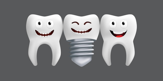 Denti sorridenti con impianto metallico. simpatico personaggio con espressione facciale. divertente per il design dei bambini. illustrazione realistica di un modello in ceramica dentale isolato su uno sfondo grigio