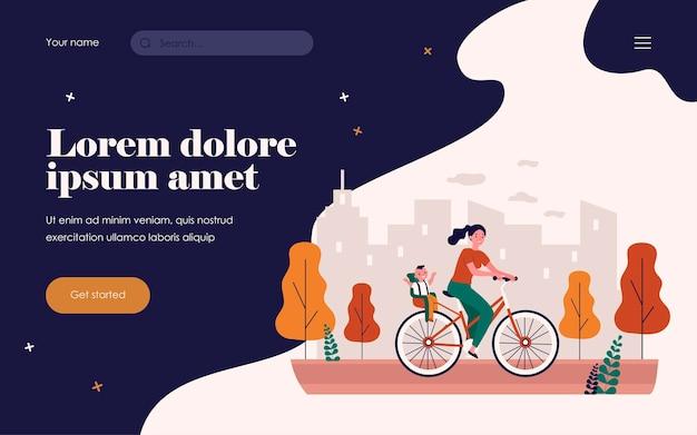 Donna sorridente in bicicletta con bambino felice. bicicletta, città, illustrazione vettoriale piatto genitore. concetto di trasporto e stile di vita per banner, design di siti web o pagine web di destinazione