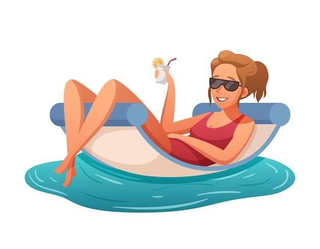 Donna sorridente che si rilassa con un cocktail in piscina o cartone animato sul mare