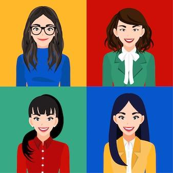 Le donne sorridenti o le persone felici hanno isolato il personaggio dei cartoni animati