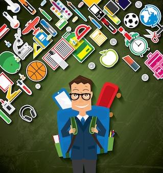 Sorridente giovane scuola ragazzo in uniforme con zaino blu e forniture. illustrazione di vettore. torna al concetto di scuola.