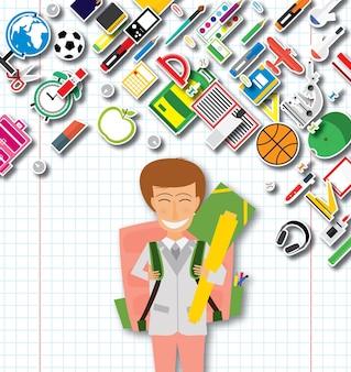 Sorridente giovane scuola ragazza in uniforme con zaino rosa e forniture. illustrazione di vettore. torna al concetto di scuola.