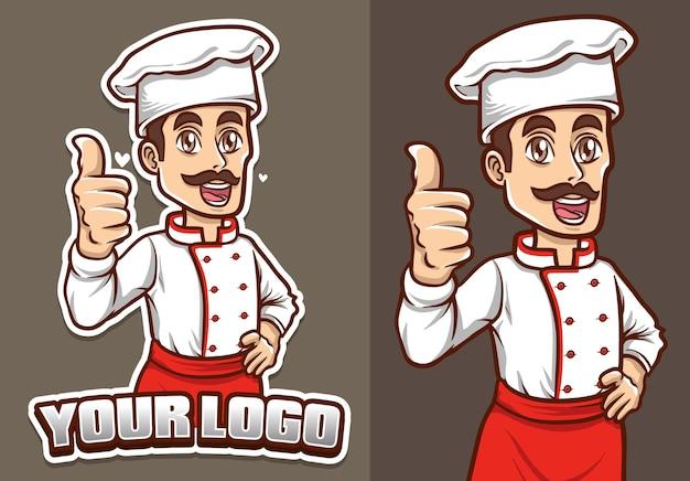 Lo chef sorridente mostra la sua illustrazione del personaggio della mascotte del pollice