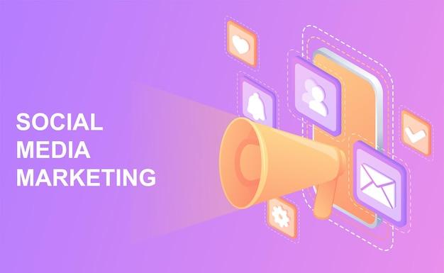 Smm conceptstrategia di marketing accuratacomunicazione digitale creazione e distribuzione di contenuti