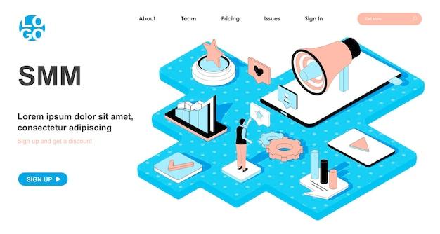 Concetto isometrico smm nella progettazione 3d per la pagina di destinazione