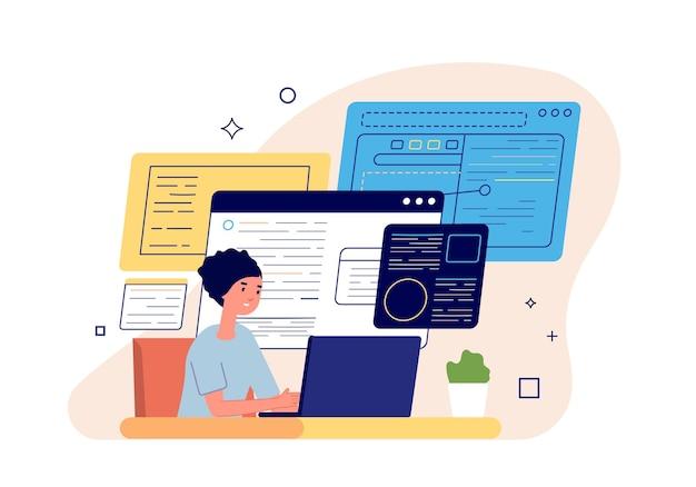 Smm manager. social media marketing, content manager freelance pubblicano nuovi post. imprenditrice, concetto di vettore di gestione analisi strategia. contenuti di marketing vettoriale, illustrazione di social business