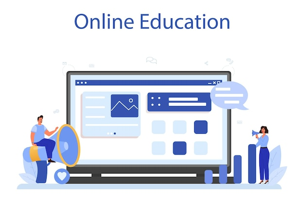 Piattaforma o servizio online smm. pubblicità di attività commerciali su internet tramite social network. formazione in linea. illustrazione piatta isolata