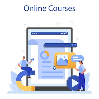 Servizio online smm o illustrazione della piattaforma