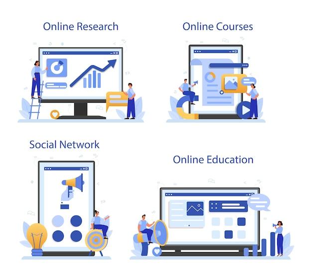 Servizio online smm o set di piattaforme