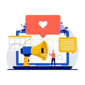 Servizio di social media marketing smm con strumento o servizio online per l'analisi dei social media in design piatto