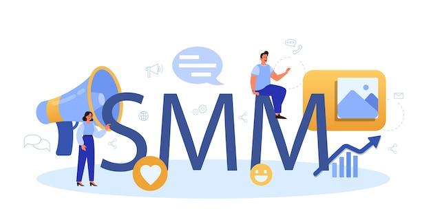 Intestazione tipografica di social media marketing smm