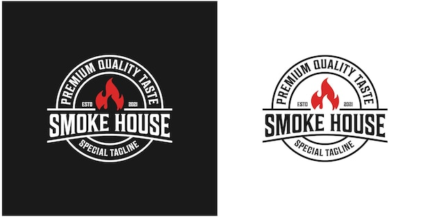 Giardino del fumo, logo rustico, alla griglia. vettore premium 2