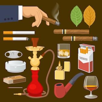 Insieme di elementi decorativi del tabacco da fumo