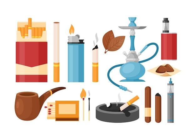 Tabacco da fumo con sigaretta in confezione o posacenere