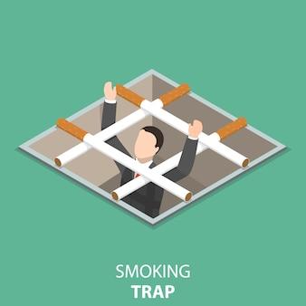 Concetto isometrico piatto trappola per fumatori.