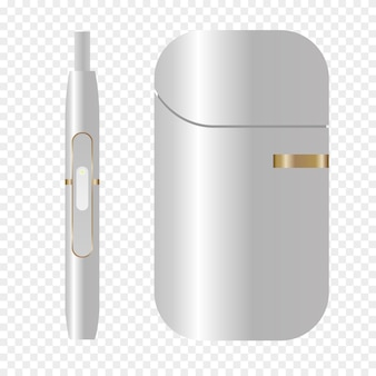 Fumo, dispositivo bianco, sistema di riscaldamento del tabacco. icona di sigaretta elettronica iqos fumo. illustrazione realistica