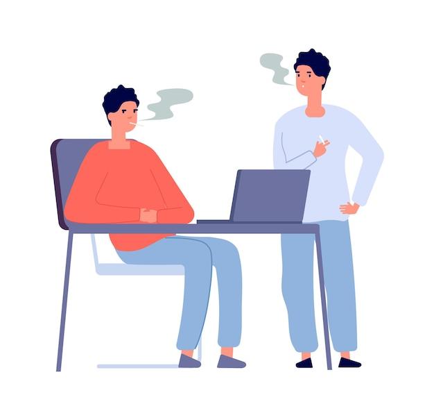 Lavoratori fumatori. due fumatori che parlano insieme. ragazzi isolati con sigarette, amici con caratteri vettoriali per la dipendenza da nicotina. persona fumatrice con illustrazione di sigaretta, fumo e relax